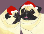 (HA19) - 2 Holiday Fawn Pugs