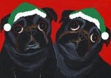 (HA66) - 2 Holiday Black Pugs