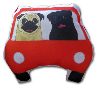 Black & Fawn Pugs in their Red Car