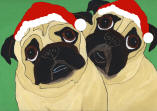 (HA67) - 2 Holiday Fawn Pugs