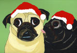 (HA69) Holiday Fawn and Black Pugs