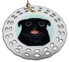 Porcelain Round Cut-Out Ornament - Pug Design A70