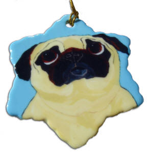 Porcelain Snowflake Ornament - Pug Design A60