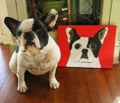 Betty loves her Pied Frenchie canvas (11 x 14)