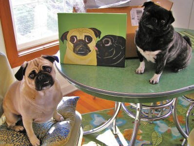 Stella and Gunther love their A69 pug canvas (11 x 14)