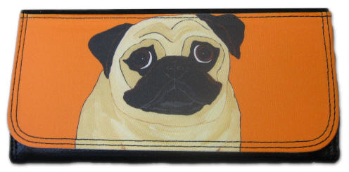 "Large wallet ~ 3.5"" x 7.25"" ~ Pug Design A47"