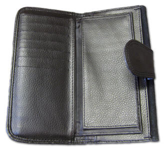 Inside large wallet showing pockets and checkbook cover.